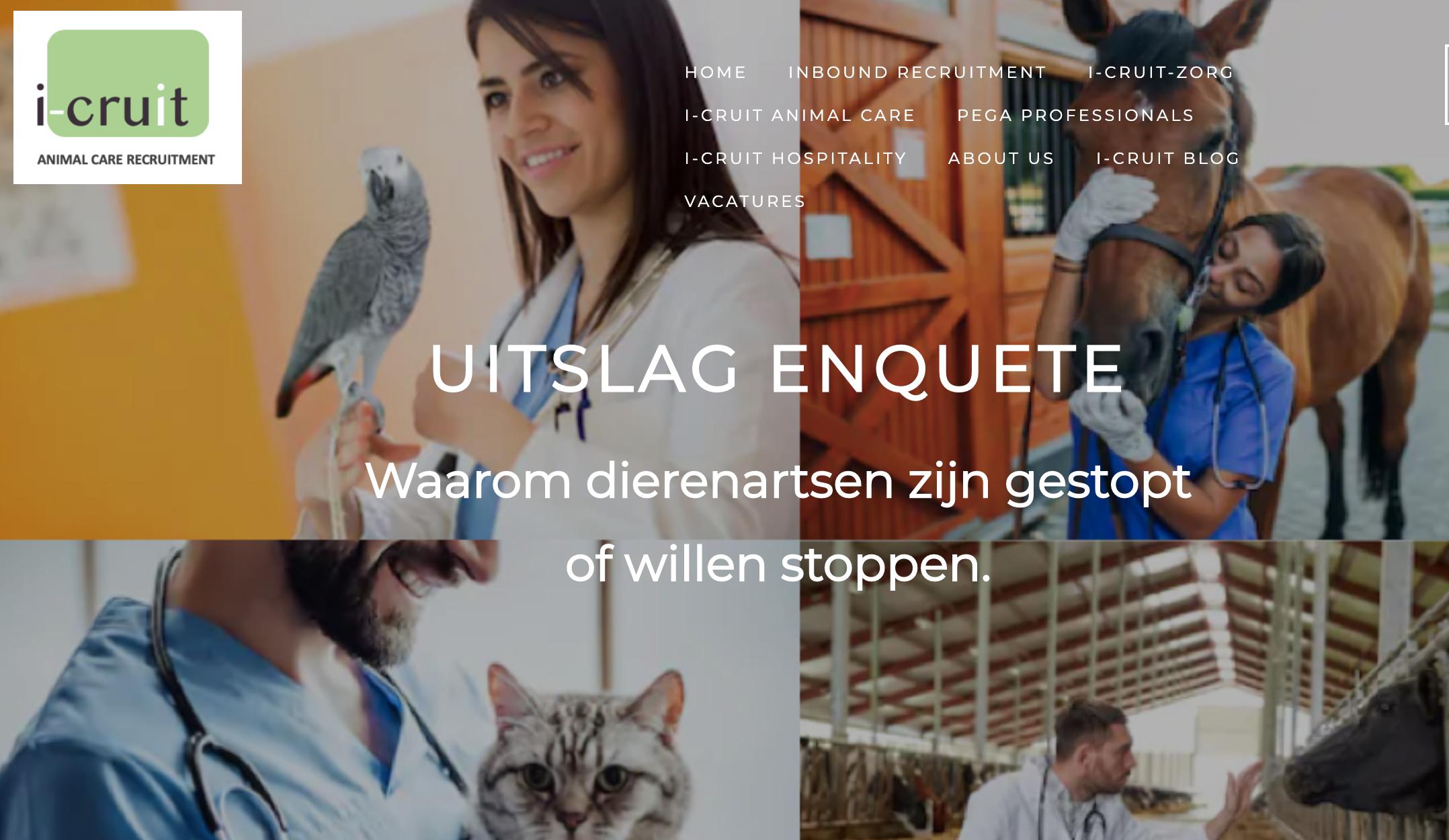 uitslag i-Cruit Animal Care dierenartsen enquete